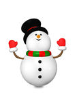 Cartoon snowman looks up isolated over white Royalty Free Stock Image