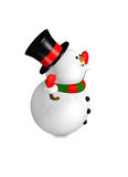 Cartoon snowman looks up over white Stock Photography