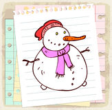 Cartoon snowman on paper note, vector illustration Stock Image