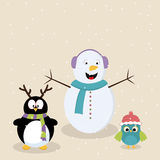 Cartoon of snowman, penguin and bird. Royalty Free Stock Images