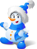 Cartoon snowman play snowballs Royalty Free Stock Photo