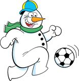 Cartoon snowman playing soccer Stock Image