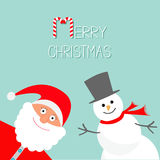 Cartoon Snowman and Santa Claus. Blue background. Candy cane. Merry Christmas card. Flat design Stock Photo
