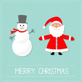Cartoon Snowman and Santa Claus. Blue background. Dash line. Merry Christmas card.  Royalty Free Stock Image
