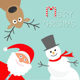Cartoon Snowman, Santa Claus and deer. Blue background. Candy cane. Merry Christmas card. Flat design Stock Image