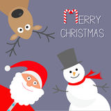 Cartoon Snowman, Santa Claus and deer. Violet background. Candy cane.  Royalty Free Stock Images