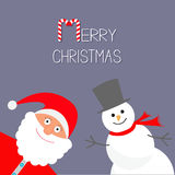 Cartoon Snowman and Santa Claus. Violet background. Candy cane. Merry Christmas card. Flat design Stock Images