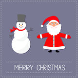Cartoon Snowman and Santa Claus. Violet background. Dash line. Merry Christmas card. Flat design Royalty Free Stock Image