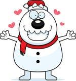 Cartoon Snowman Santa Hug Stock Photo