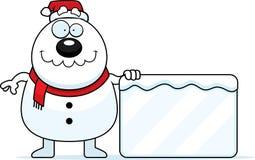Cartoon Snowman Santa Sign Stock Images