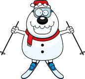 Cartoon Snowman Santa Skiing Stock Images