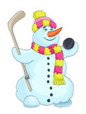 Cartoon snowman with scarf, hat, and hockey stick Royalty Free Stock Photos