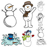 Cartoon Snowman Set Stock Images