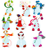 Cartoon snowman set Stock Photo