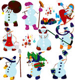 Cartoon snowman set and presents Stock Image