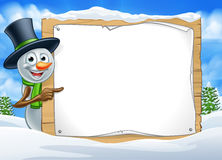 Cartoon Snowman Sign Scene Stock Photos