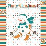 Cartoon snowman skiing vector illustration