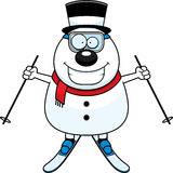 Cartoon Snowman Skiing Royalty Free Stock Photography