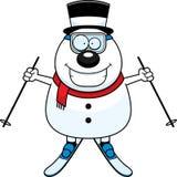 Cartoon Snowman Skiing. A cartoon illustration of snowman skiing stock illustration