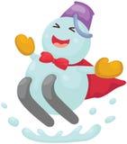 Cartoon snowman skiing Stock Images