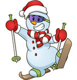 Cartoon snowman on skiing Vector clip art illustration simple gradients Stock Images