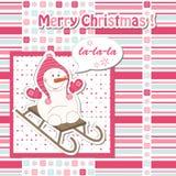 Cartoon snowman sledding Royalty Free Stock Photography