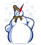 Cartoon snowman smile Royalty Free Stock Photography
