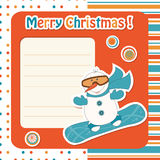 Cartoon  snowman on snowboard Royalty Free Stock Photo