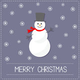Cartoon Snowman and snowflakes. Violet background. Merry Christmas card Flat design Royalty Free Stock Photography