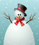 Cartoon snowman text frame. Cartoon snowman with big body for texts and frames Royalty Free Stock Photography