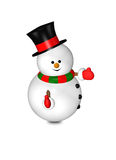 Cartoon snowman with thumbs up isolated over white Stock Images