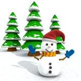 Cartoon Snowman And Trees Stock Photos