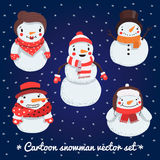 Cartoon snowman vector set Royalty Free Stock Images