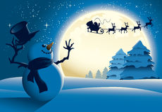 Cartoon Snowman Waving To Santa Sleigh - Blue