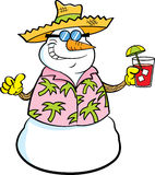 Cartoon snowman wearing a straw hat and holding a tropical drink. Royalty Free Stock Image