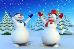 Cartoon snowmans Royalty Free Stock Photo