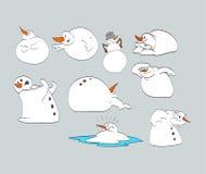 Cartoon Snowmen. Royalty Free Stock Photo