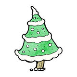 Cartoon snowy christmas tree Stock Image