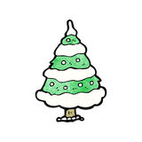Cartoon snowy christmas tree Royalty Free Stock Images