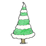 Cartoon snowy christmas tree Stock Photography