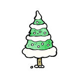 Cartoon snowy christmas tree Stock Images