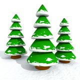 Cartoon Snowy Christmas Trees Stock Photos