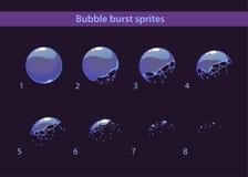 Cartoon soap bubble burst sprites. Frames for animation Royalty Free Stock Photography