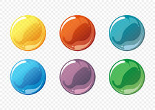 Cartoon soap bubble vector set. Bubble circle soap, sphere bubble soap, ball transparent bubble soap, glossy bubble soap. Vector illustration Royalty Free Stock Photography