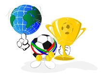 Cartoon soccer ball the champion Royalty Free Stock Photos