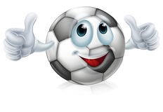 Cartoon soccer ball character. An illustration of a cartoon soccer ball or football ball character doing a thumbs up Royalty Free Stock Images