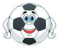Cartoon soccer ball. Cartoon cute soccer ball isolated on white background Royalty Free Stock Image