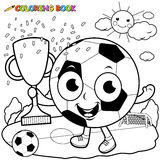Cartoon Soccer Ball Holding Trophy Coloring Book Page Stock Photos