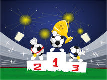 Cartoon soccer balls with trophy and medals Stock Image