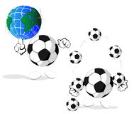 Cartoon soccer balls Stock Images